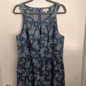 LOFT - NWT Floral Chambray Keyhole dress - 12